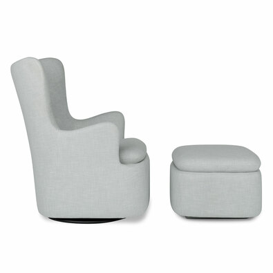 GLIDER Fabric Armchair and Ottoman