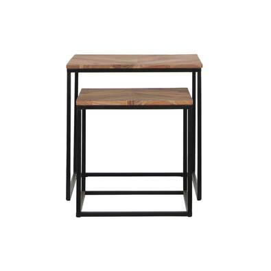 FRAME Nested Side Table Set of 2, Natural & Black