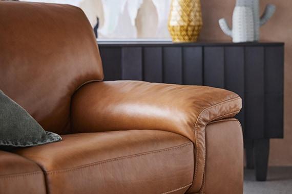3 Seat Caramel Leather Barret Sofa, Freedom Leather Sofa Review